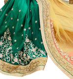 FROM THE HOUSE OF STYLISH BAZAAR DESIGNER GREEN EMBROIDERED SAREE MATCHED WITH A CREAM BLOUSE ANOB35