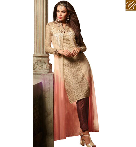 STYLISH BAZAAR BEAUTIFUL CREAM AND PEACH NET DESIGNER SUIT HAVING JACKET STYLE WITH EMBROIDERED SLMSH3501