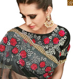 A STYLISH BAZAAR PRESENTATION DELIGHTFUL BLACK NET DESIGNER SAREE HAVING SUPERB ROSE AND MASSIVE DIAMOND WORK SLMN3502A