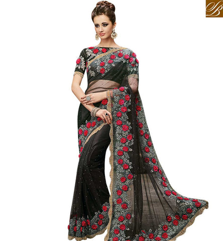 STYLISH BAZAAR DELIGHTFUL BLACK NET DESIGNER SAREE HAVING SUPERB ROSE AND MASSIVE DIAMOND WORK SLMN3502A
