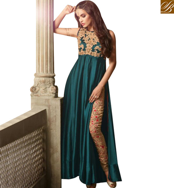 STYLISH BAZAAR WONDERFUL GREEN SATIN DESIGNER SUIT HAVING DUAL STYLE IN BOTTOM EITHER TROUSER OR LEHENGA SLMSH3502