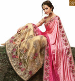 FROM STYLISH BAZAAR WONDERFUL CREAM NET HEAVY EMBROIDERED SAREE HAVING SATIN PALLU WITH PLEASING ROSE WORK SLMN3503A