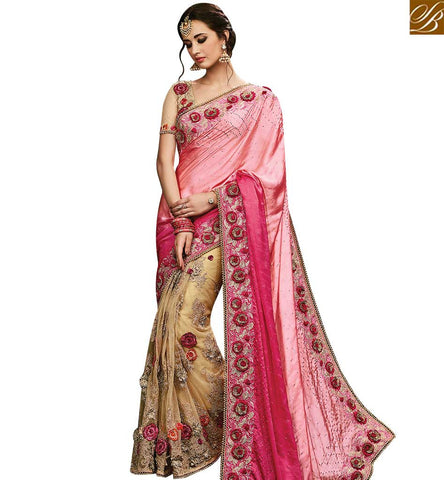 STYLISH BAZAAR WONDERFUL CREAM NET HEAVY EMBROIDERED SAREE HAVING SATIN PALLU WITH PLEASING ROSE WORK SLMN3503A