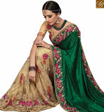 FROM THE HOUSE OF STYLISH STYLISH BAZAAR WONDERFUL CREAM NET HEAVY EMBROIDERED SAREE HAVING SATIN PALLU WITH PLEASING ROSE WORK SLMN3503B