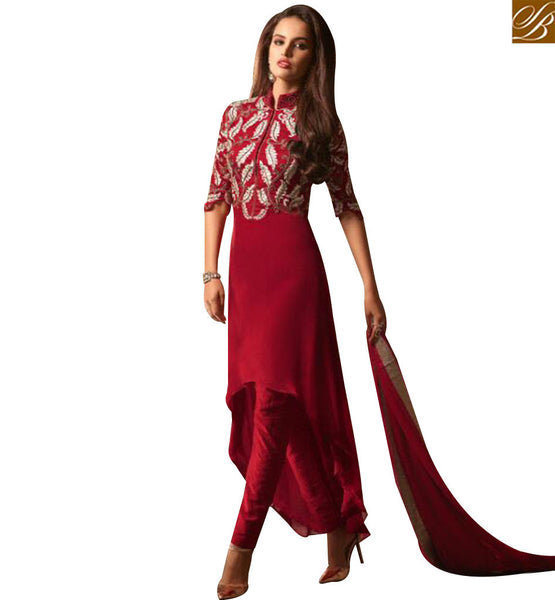 STYLISH BAZAAR INVITING RED GEORGETTE DESIGNER SUIT HAVING DUAL STYLE IN BOTTOM EITHER DHOTI OR CHURIDAR SLMSH3503