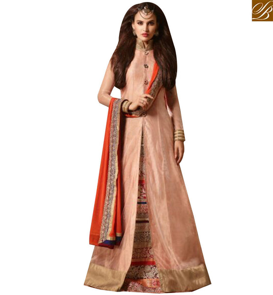 STYLISH BAZAAR APPRECIATING PEACH SILK NET DESIGNER SUIT HAVING JACKET WITH LEHENGA STYLE SLMSH3504