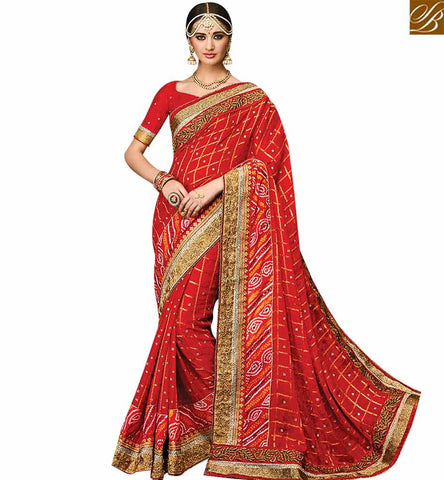 STYLISH BAZAAR ELEGANT MAROON CHIFFON CHECKS WITH ULTIMATE WORK DESIGNER SAREE WITH HEAVY LACE BORDER & MOTI WORK SLMN3505
