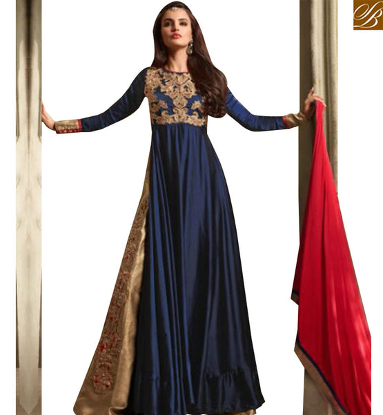 STYLISH BAZAAR AMAZING NAVY BLUE SATIN HEAVY EMBEDDED SUIT HAVING SLIT CUT STYLE AND BEIGE COLOR BOTTOM SLMSH3505