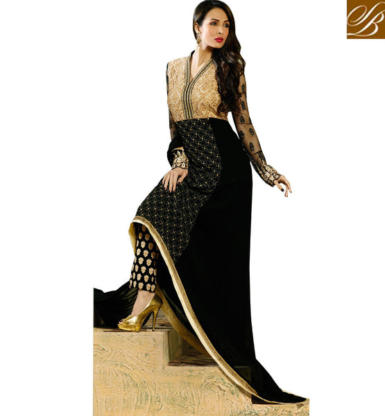 3505 MALAIKA ARORA KHAN BEAUTIFUL BLACK ASYMMETRIC GLOSSY SALWAR KAMEEZ