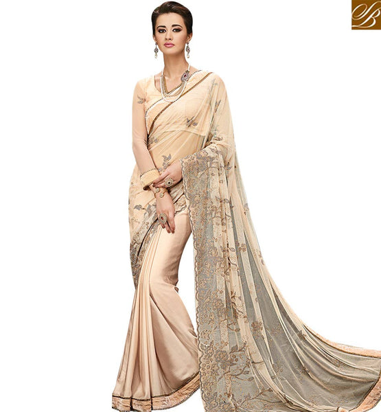 STYLISH BAZAAR MAGNIFICENT CREAM SATIN WITH DIAMOND BORDER HAVING HEAVY NET EMBEDDED PALLU WITH BIDDES WORK SLMN3506