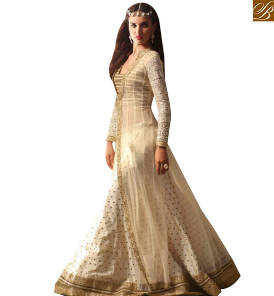 STYLISH BAZAAR DAZZLING CREAM NET HEAVY EMBROIDERED SUIT HAVING DUAL STYLE IN BOTTOM EITHER LEHENGA OR TROUSER SLMSH3506