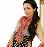 IMAGE OF CELEBRITY SUITS DESIGNS LOOKS LIKE DESIGNER LONG KURTIS PAKISTANI   Glamorous MalaikaAroraKhan in Pakistani Outfit . It is beautified with full embroidery on top and contrast neckline plus glittering net pattern on the bodice PICTURE 3507
