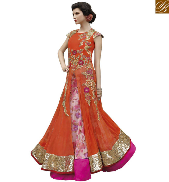 SIDE SLIT FLORAL EMBROIDERED SALWAAR KAMEEZ VPL3507 BY ORANGE