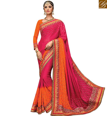 STYLISH BAZAAR APPRECIATING ORANGE & RED PURE CHIFFON CHECKS WITH ULTIMATE DESIGNER SAREE HAVING MOTI WORK SLMN3509