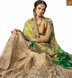 FROM THE STYLISH BAZAAR PRESENTATION CAPTIVATING BEIGE NET HEAVY EMBROIDERED SAREE ATTIRE GREEN SHADED DESIGNER WORKED PALLU SLMN3511A
