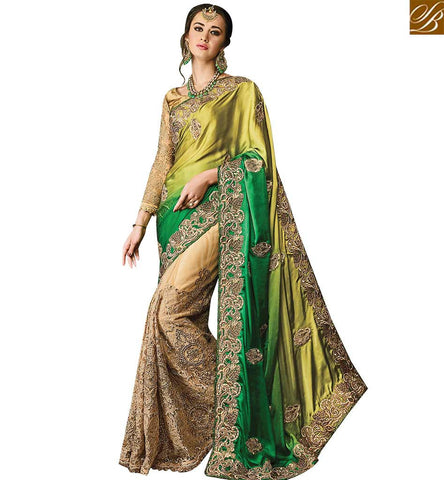 STYLISH BAZAAR CAPTIVATING BEIGE NET HEAVY EMBROIDERED SAREE ATTIRE GREEN SHADED DESIGNER WORKED PALLU SLMN3511A