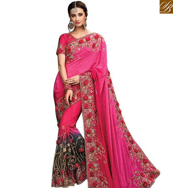 STYLISH BAZAAR FASCINATING RED & BLACK SHADED NET DESIGNER SAREE HAVING EMBROIDERED SATIN PALLU WITH ROSE WORK SLMN3512A