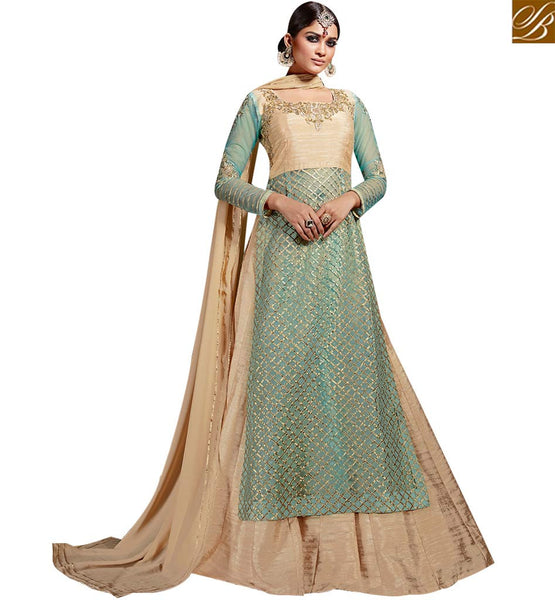 STYLISH BAZAAR REMARKABLE ART SILK AND GREEN NET WELL EMBEDDED DESIGNER SUIT WITH LEHENGA STYLE SLVSM3582
