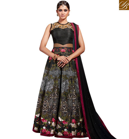STYLISH BAZAAR UNIMAGINABLE ART SILK AND NET DESIGNER SUIT HAVING LOVELY PRINT EMBROIDERY WITH LEHENGA STYLE SLVSM3583
