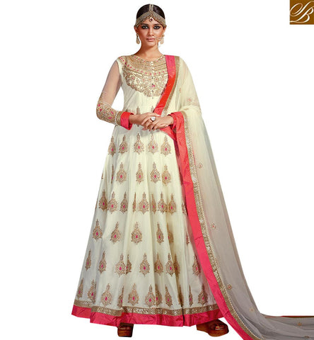 STYLISH BAZAAR BLOOMING CREAM ART SILK DESIGNER ANARKALI SALWAR KAMEEZ WITH HEAVY EMBROIDERY AND MOTI WORK SLVSM3585
