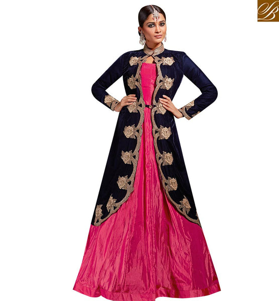 STYLISH BAZAAR IMAGINATIVE BLUE AND PINK SILK ANARKALI SALWAR KAMEEZ WITH GORGEOUS JACKET STYLE SLVSM3586