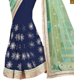 FROM THE HOUSE OF STYLISH BAZAAR BLUE AND GREEN COLOURED SPECTACULAR PARTY WEAR SARI COMPLEMENTED WITH A CREAM BLOUSE ANOB36