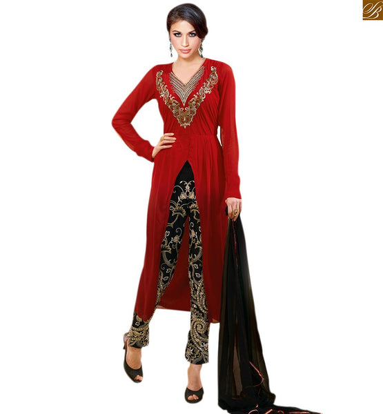 Latest designer suits 2015 kameez shalwar online shopping maroon georgette v cut neck heavy resham embroidered dress with black satin embroidered bottom Image