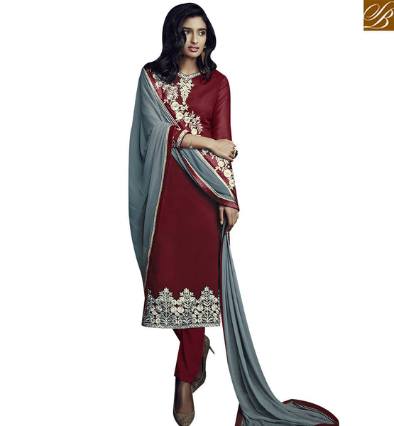 STYLISH BAZAAR BEAUTIFUL MAROON GEORGETTE STRAIGHT CUT DESIGNER SALWAR KAMEEZ WITH GREY DUPATTA SLSJW36001