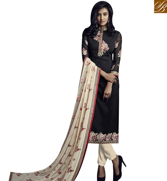 STYLISH BAZAAR LOVELY BLACK GEORGETTE STRAIGHT CUT DESIGNER SUIT WITH CHINESE COLLOR NECK SLSJW36002