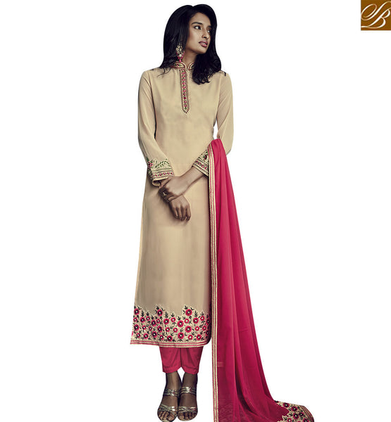 STYLISH BAZAAR MARVELLOUS BEIGE GEORGETTE STRAIGHT CUT DESIGNER SALWAR KAMEEZ WITH PINK DUPATTA SLSJW36004
