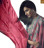 PLEASING GREY GEORGETTE STRAIGHT CUT SALWAR KAMEEZ HAVING PEACH COLOR DUPATTA SLSJW36006