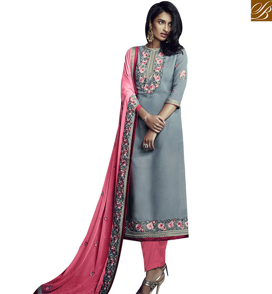 STYLISH BAZAAR PLEASING GREY GEORGETTE STRAIGHT CUT SALWAR KAMEEZ HAVING PEACH COLOR DUPATTA SLSJW36006
