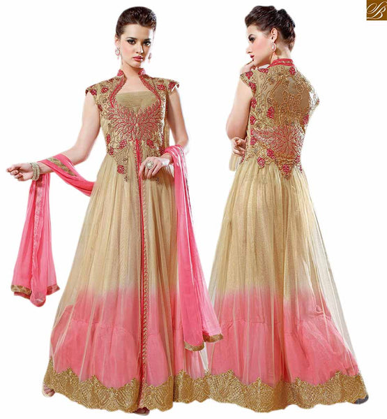 Stylish suits salwar kurta designs of beautiful dresses 2015 cream and peach net different cut high neck designer salwar kameez with peach colour bottom Image