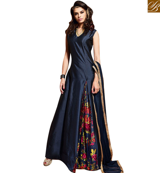 STYLISH BAZAAR ELEGANT MAISHA NAVY BLUE PURE SILK ANARKALI SUIT CONTAINING FLORAL PRINT WITH SLIT CUT SLMSH3601