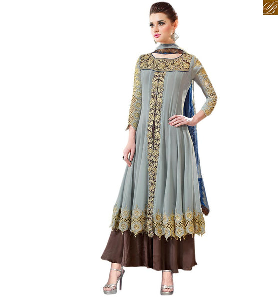 Long kameez designs of cute salwar suits set for stylish ladies grey georgette heavy resham zari and embroidered salwar kameez with grey designer bottom Image