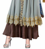 Grey georgette heavy resham zari and embroidered salwar kameez with grey designer bottom. Pic