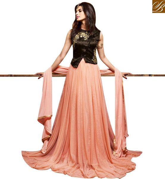 STYLISH BAZAAR SHOP BEAUTIFUL PEACH SILK NET DESIGNER EXCLUSIVE GOWN STYLE SUIT WITH WELL DESIGN ON CHEST SLMSH3602
