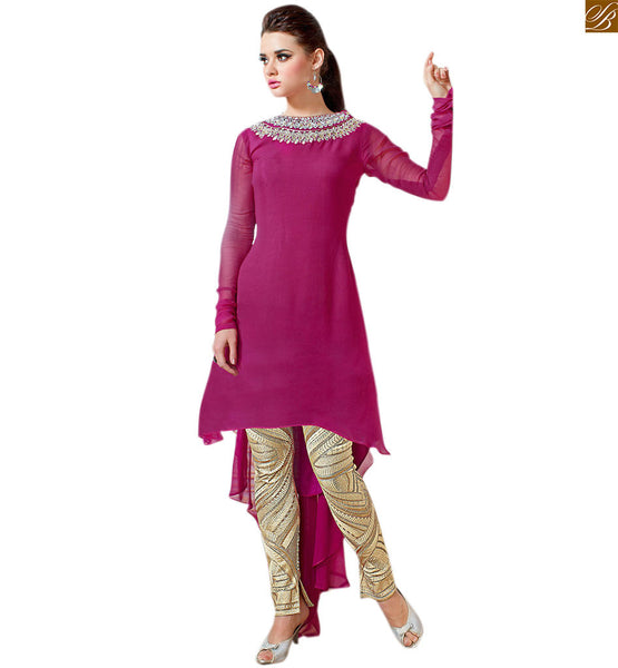 Stylish suits pakistani dresses shalwar kameez for college girls pink georgette different fancy cut intricate resham embroidered shalwar kameez with cream designer bottom Image