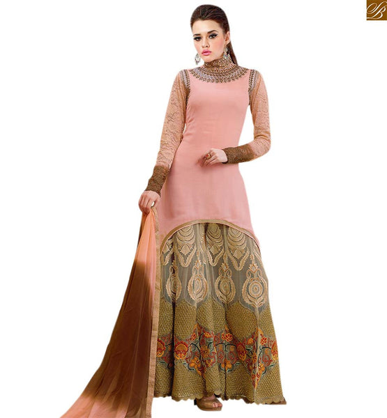 Latest salwar suit designs with pakistani kurta online shopping peach georgette heavy resham embroidered salwar kameez with cream net heavy embroidered bottom Image