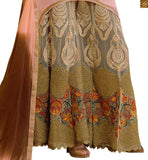 Peach georgette heavy resham embroidered salwar kameez with cream net heavy embroidered bottom pic