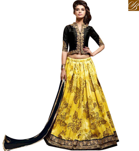 STYLISH BAZAAR ATTRACTIVE BLACK AND YELLOW SILK LEHENGA CHOLI ONLINE SHOPPING WITH BEST PRICE SLMSH3604