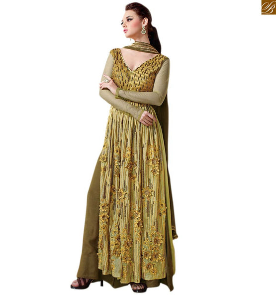 Stylish suits hot salwar kameez dupatta dress online shopping green georgette back neck designer heavy embroidered salwar kameez with green trendy bottom Image