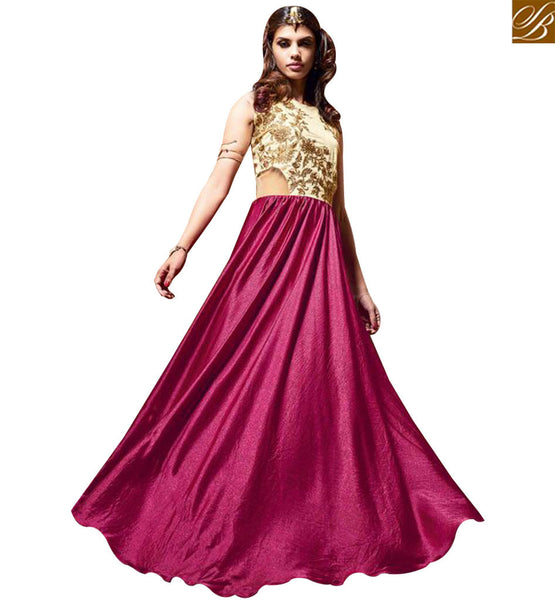 STYLISH BAZAAR INVITING MAGENTA SATIN WITH BEAUTIFUL EMBROIDERED ANARKALI SALWAR KAMEEZ WITH GOWN STYLE SLMSH3605