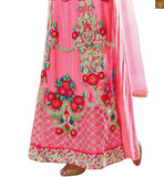 Orange and pink georgette princess cut neck designer salwar kameez with pink awesome looking bottom pic