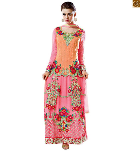 Salwar kameez 2015 best and beautiful pakistani new dresses orange and pink georgette princess cut neck designer salwar kameez with pink awesome looking bottom Image