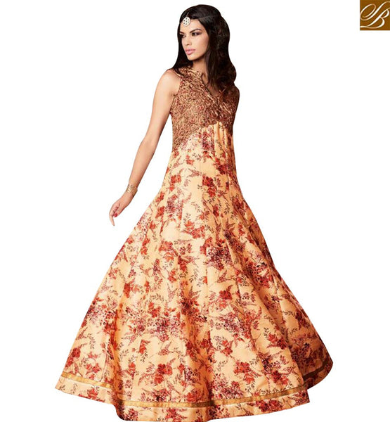 STYLISH BAZAAR BLOOMING ORANGE BANARASI SILK CONTAINING FLORAL PRINT HAVING GOLD EMBROIDERY WITH GOWN STYLE SLMSH3606