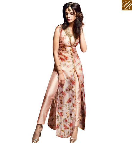 STYLISH BAZAAR PROFUSE LIGHT PINK SILK DESIGNER SALWAR KAMEEZ HAVING GLORIOUS FLORAL PRINT WITH SLIT CUT SLMSH3607