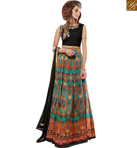 STYLISH BAZAAR UNIMAGINABLE MULTI COLOR PURE CRAPE DESIGNER ANARKALI SUIT FLORAL PRINT WITH GOWN STYLE SLMSH3608