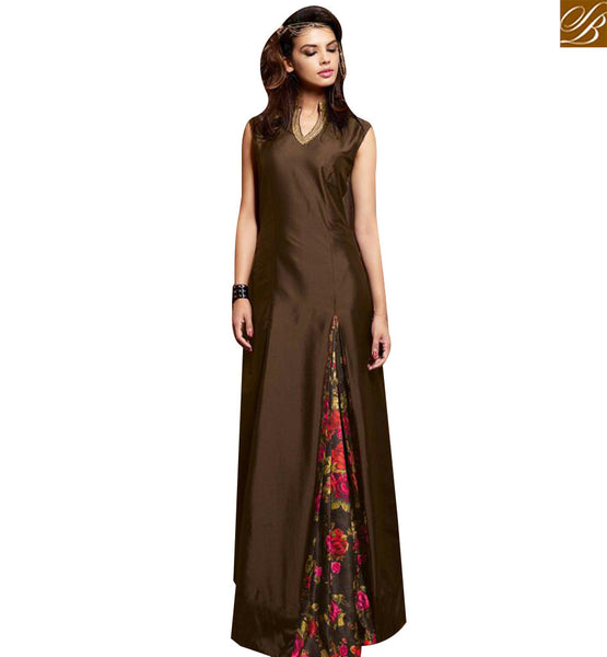 STYLISH BAZAAR APPRECIATING BROWN SILK DESIGNER ANARKALI SALWAR KAMEEZ CONTAINING FLORAL PRINT WITH SLIT CUT SLMSH3609