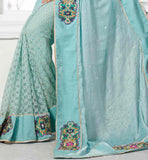 ENGAGING BLUE PARTY WEAR SARI RTCHA367